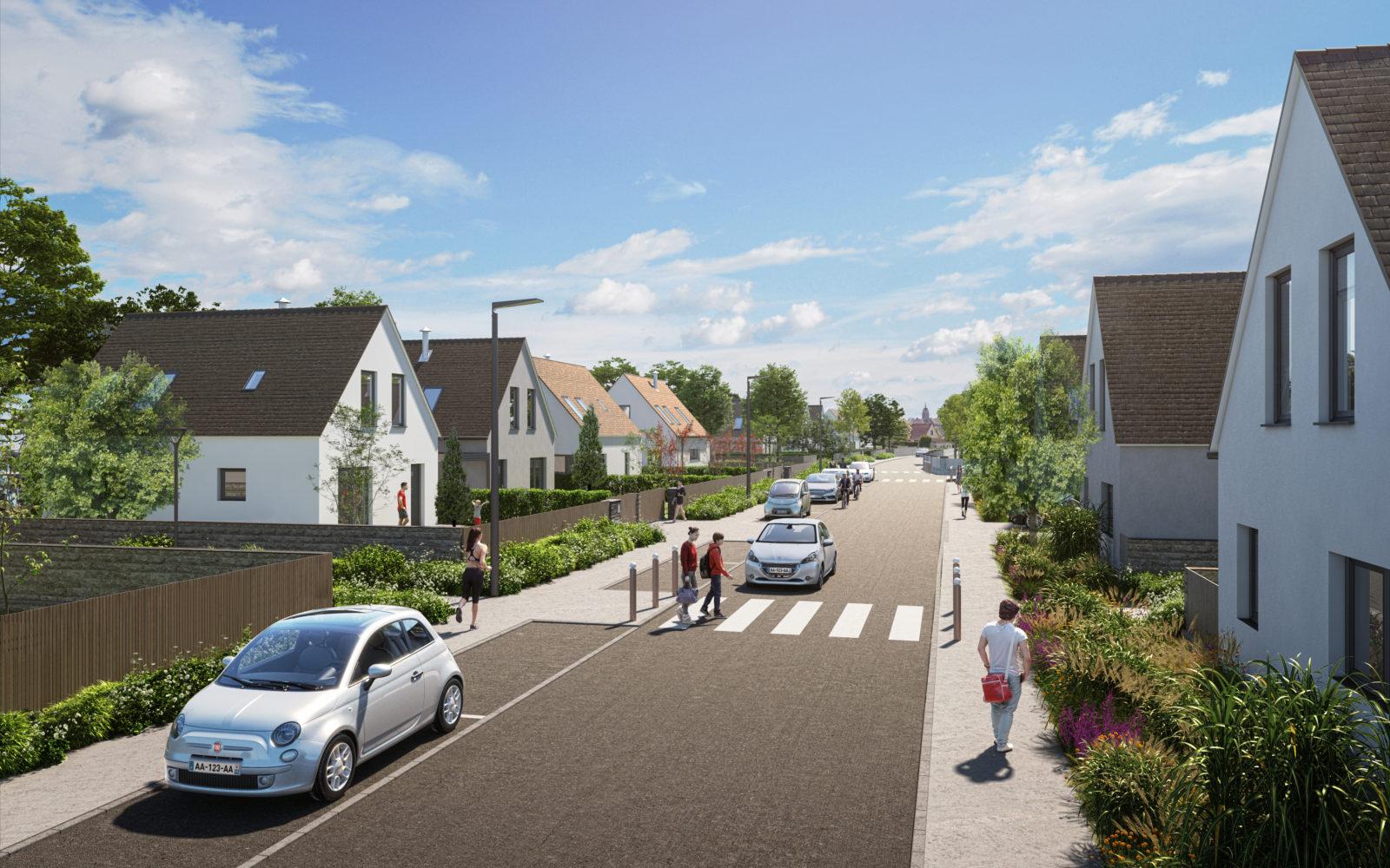 Perspective du futur aménagement de la rue des Collinettes
