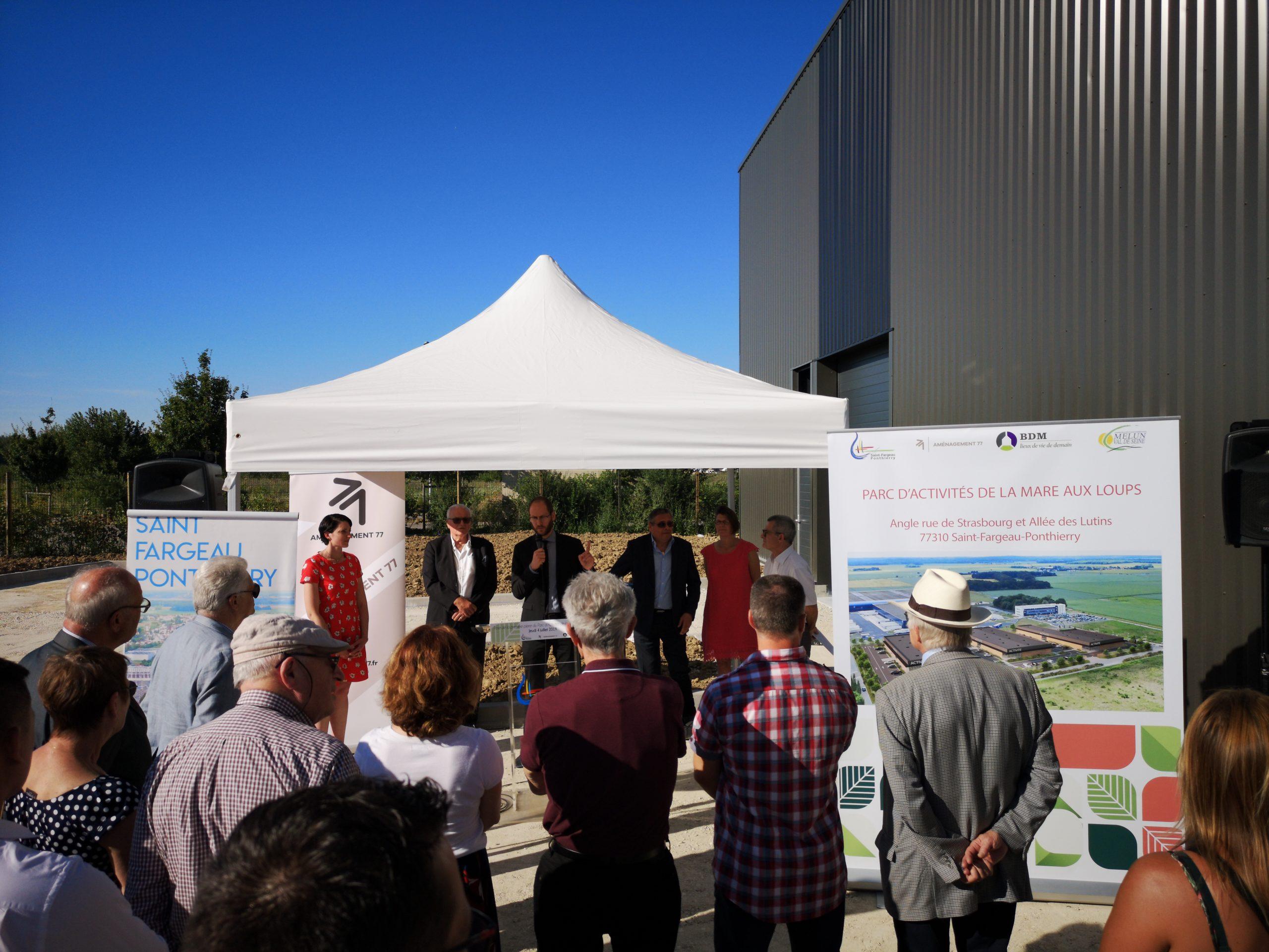 Pose de la 1ère pierre du parc d'activités de la Mare aux Loups destiné à recevoir des PME et PMI (2019)
