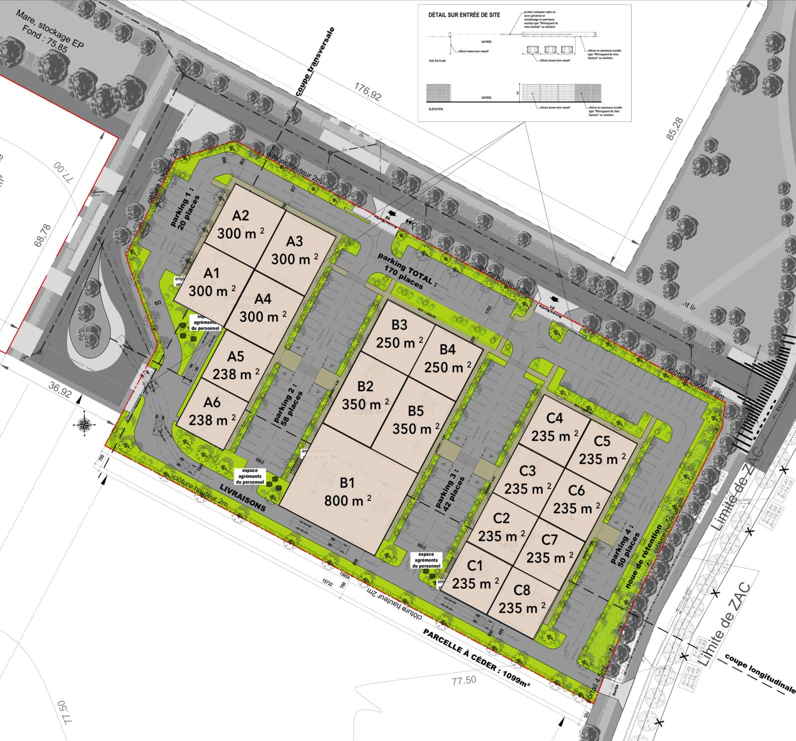 Plan de masse (architecte : A. MASSINON ; promoteur SAS FAD IMMO)