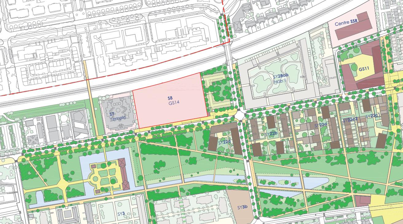 Plan masse (Source : Germe&JAM - In Situ - Mageo - Amoes - AEU - Flore Siesling – BIM   Service Projet d'aménagement de la ZAC Le Sycomore - CPRAUP GS14 - Juillet 2020)